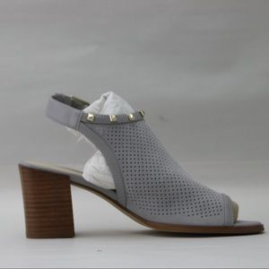 Marc Fisher Suede Perforated Heeled Sandals-Grey